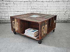 A collection of recycled crates come together to produce a coffee table like nothing you will likely have seen. Offering plenty of storage space and lockable castor wheels for easy movement