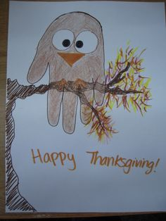 A different kind of bird craft for Thanksgiving! Hand print owls to go with Wow! Said the Owl, Little Hoot, and I'm Not Scared. Just a reminder that all Long Beach libraries will be closed on Thursday and Friday 11/28-11/29. Story time at Los Altos will resume the following Friday. Happy Thanksgiving!