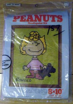 "PEANUTS Vintage Needlepoint Kit 1960 ""Sally Brown"" Snoopy Gang Schultz"