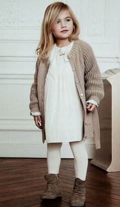 Sweet cozy look . . . Love the chunky sweater and boots with the sweetness of the dress.