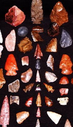 Color enhanced photo of a grouping of my best artifacts to date, all found on the Arkansas River in Oklahoma.
