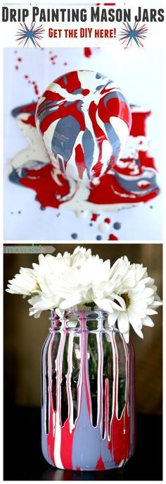Mason Jar Crafts You Can Make In Under an Hour - Drip Painting Mason Jars DIY -Quick Mason Jar DIY Projects that Make Cool Home Decor and Awesome DIY Gifts - Best Creative Ideas for Mason Jars with Step By Step Tutorials and Instructions - For Teens, For Mason Jar Projects, Mason Jar Crafts, Bottle Crafts, Diy Projects, House Projects, Diy Arts And Crafts, Crafts For Teens, Kids Crafts, July Crafts