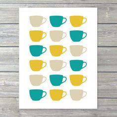 Teacups print - ready to be framed.