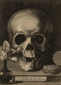 Matthieu Platte-Montagne, Still Life with Skull, Pocket Watch, and Roses, mid-17th century