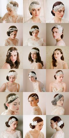 What a beautiful bride headdress, lace + diamond + white, each with a fine to the extreme! ! Source: