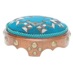 Victorian English Blue Beaded Footstool