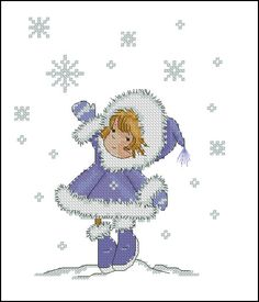 little girl winter snowflake cross stitch Cross Stitch For Kids, Cross Stitch Love, Cross Stitch Kits, Cross Stitch Charts, Cross Stitch Patterns, Cross Stitching, Cross Stitch Embroidery, Cross Stitch Numbers, Christmas Embroidery