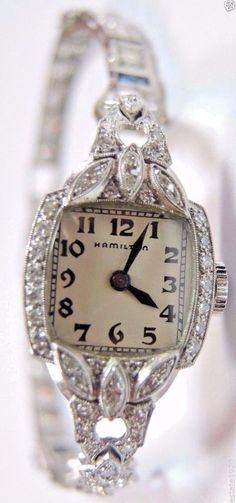 Antique Women's Hamilton Diamond Watch Platinum 17 Jewels Art Deco Vintage Fine…
