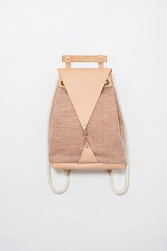 ON SALE Minimal Nude Backpack - Vegan Leather Bag Maple Wood handle and Wool canvas Backpack - Cotton Rope Shoulder Straps / vegtan leather