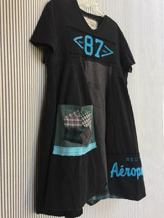 Upcycled Black Tshirt dress Casual Day Dress Patchwork Panel
