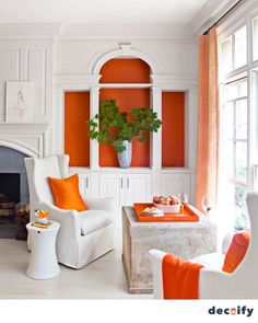 How to Style Your Bookshelves So They're Always Ready for a Close-Up - Bookshelf Decorating Ideas – Unique Bookshelf Decor Ideas – House Beautiful. Orange Paint by Pr - Interior Decorating, Interior Design, Decorating Ideas, Bookshelf Decorating, Decor Ideas, Bookshelf Ideas, Decorating With Orange, Bookshelf Inspiration, Rustic Bookshelf