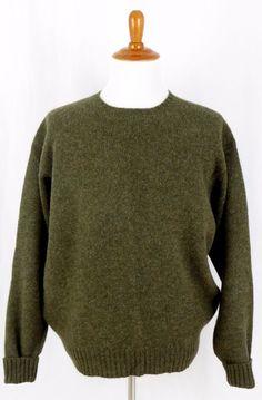 Mens Polo Ralph Lauren Lambs Wool Crew Neck Snow Ski Sweater Green L #PoloRalphLauren #Crewneck