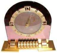 1930's Art Deco pink mirrored clock