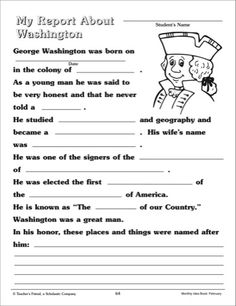 PrimaryLeap.co.uk - Comprehension - George Washington Worksheet ...
