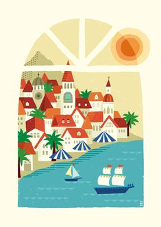 朱と蒼の街_suzuki tomoko Boat Illustration, Landscape Illustration, Easy Canvas Painting, Easy Paintings, Cute Lockscreens, Posca, Reference Images, Old Art, Graphic