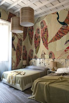 Pencil birds www.wallanddeco.com #wallpaper, #wallcovering, #cartedaparati