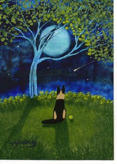 German Shepherd Dog art PRINT of Todd Young painting Spring Night
