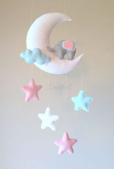 Mobile baby baby mobile elephant mobile moon by lovefeltmobiles . Baby Mädchen Mobile, Pink Mobile, Baby Crafts, Felt Crafts, Diy And Crafts, Elephant Mobile, Diy Bebe, Felt Diy, Felt Ornaments