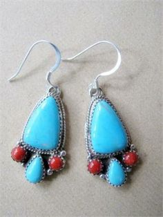 earrings indian images | ... Navajo Indian Jewelry - Large Turquoise Bear Paw Dangle Earrings