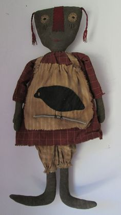 Prim Black Doll with Crow Apron by Bettesbabies on Etsy, $46.00