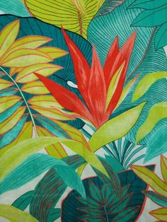 Vintage tropical botanical floral leaves fabric  by by Pensione. This would make awesome fabric for kitchen stools!