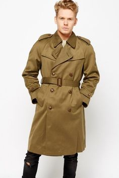 Khaki Mens Leading Oversized Trench Coat - Khaki - £5 - on Everything5pounds.com