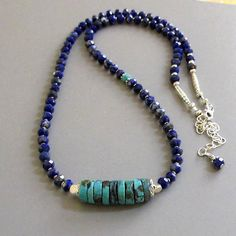 Sodalite Turquoise Necklace Sterling Silver DJStrang Boho Chic