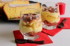 Coppette di pandoro con crema pasticcera e cacao
