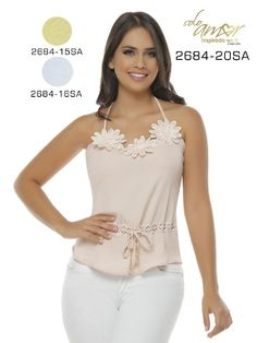Blusa Moda Colombiana Solo Amor - Ref. 246 -2684-16 SA Beige Blouse Styles, Blouse Designs, Crop Tops, Tank Tops, Cute Dresses, Camisole Top, My Style, Womens Fashion, Shirts