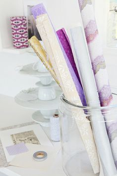 Purple, gold and silver work so well together - pretty gift wrapping. Home Office, Chiffon, Paper Doilies, Purple Hues, Purple Gold, Handmade Greetings, Silver Work, Gift Wrapping, Wrapping Ideas