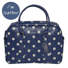 """CathKidston ~ Button Spot Leather Bowling Bag ~ """"A leather finish and classic print make this modern-vintage bag fancy enough to take to dinner, but not so posh you need to save it for best. Use it everyday and enjoy as the compliments roll in. Cath Kidston Bags, Bowling Bags, Elements Of Style, Classic Leather, Clothes Horse, Leather Accessories, Tote Handbags, Travel Bags, Diaper Bag"""