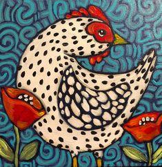 Folk Art Flowers, Chicken Art, Chicken Painting, Rooster Art, Animal Paintings, Folk Art Paintings, Indian Paintings, Rabbit Art, Bird Drawings