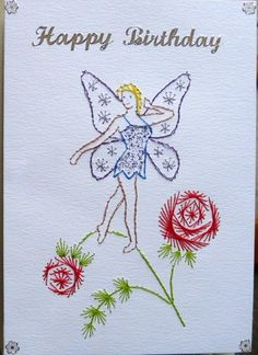 Stitched card fairy