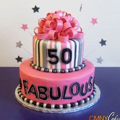 A fabulous 50th birthday cake idea for a special lady. See more 50th birthday party ideas at www.one-stop-party-ideas.com