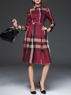 Sewing Inspiration: Mcall's 6891 or Mcall's 6696; Plaid Belted Midi Dress