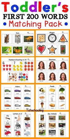 Toddler matching activities for tot school to encourage speech and language development, vocabulary and early learning concepts such as the alphabet, Toddler Learning Activities, Speech Therapy Activities, Language Activities, Toddler Preschool, Preschool Activities, Kids Learning, Learning Colors, Preschool Kindergarten, Play Therapy
