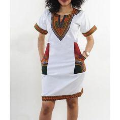 Women's Club Dresses - shekiss Women's Dashiki African Bodycon Dresses Bohemian Vintage Print Club Midi V-Neck Pockets at Women's Clothing store: Short African Dresses, Latest African Fashion Dresses, African Print Fashion, Short Sleeve Dresses, Nigerian Fashion, Ghanaian Fashion, African Prints, Latest Fashion, Short Sleeves