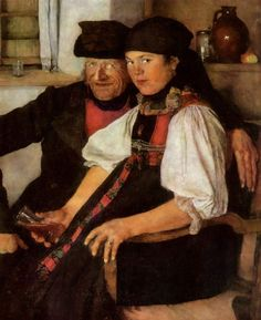 The Unlikely Pair (also known as Das ungleiche paar) Wilhelm Leibl - 1886
