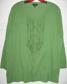 TALBOTS WOMAN cardigan sweater green cotton knit top 3/4 sleeve tuxedo ruffle 2X #Talbots #Cardigan