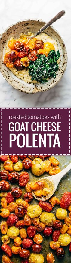 Roasted Tomatoes with Goat Cheese Polenta ♡ an easy vegetarian recipe adaptable to whatever veggies you have on hand. Healthy meets comfort food! | pinchofyum.com