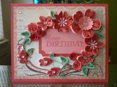 "Handmade Greeting Pink Paper Quilling Card ""Happy Birthday"" with Quilled Roses (Birthday,Anniversary, Family, Friends)"