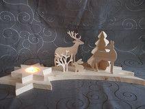 Teelichthalter aus Holz,Sternschnuppe, Weihnachten