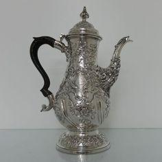 GEORGIAN SILVER ROCOCO COFFEE POT LONDON 1769 CHARLES WRIGHT