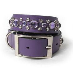 Lavender Cabs Crystals on Dusty  Lavender Leather Dog Collar