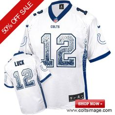 $79.99 Men's Nike Indianapolis Colts #12 Andrew Luck Game NFL Drift Fashion White Jersey