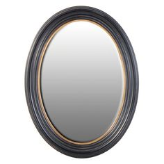 A stunning oval mirror with a black and gold frame. If you love the idea of a porthole mirror but need a standard reflection this is the mirror for you! (Most porthole or ship's mirrors have convex glass but this mirror has regular mirrored glass). Oval Mirror, Black Mirror, Mirrored Furniture, French Furniture, Shabby Chic Furniture, Sweetpea And Willow, Furniture Boutique, Mirrors Online, Home