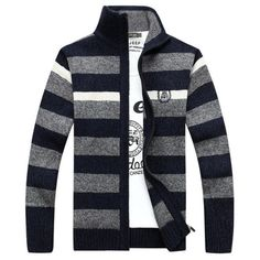 Mens Fall Winter Stripe Pattern Knitted Thick Stand Collar Casual Jacket - Gchoic.com