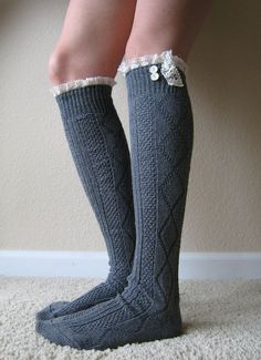 The Milly Lace-Charcoal Grey Cable-knit Boot Socks w/ cream Lace Ruffle & buttons READY TO SHIP