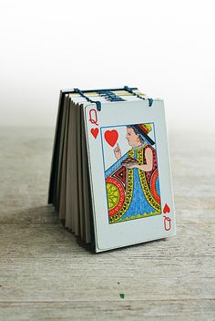 mini playing card queen of hearts journal by odelae