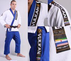 Kimono Vulkan Pro Light Azul e Branco/White and blue - Adulto